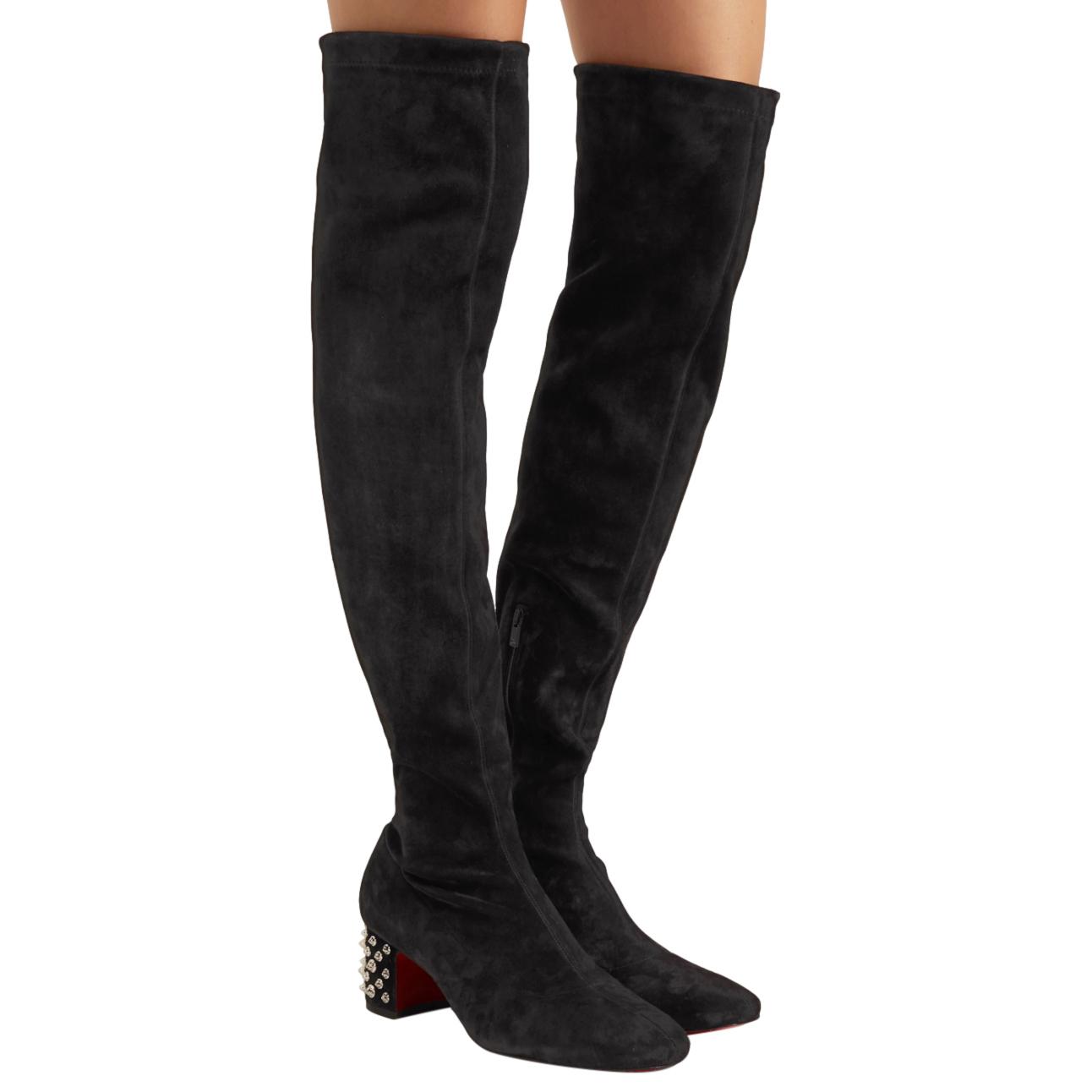 Christian Louboutin Black Velours Study 55 Stretch Boots