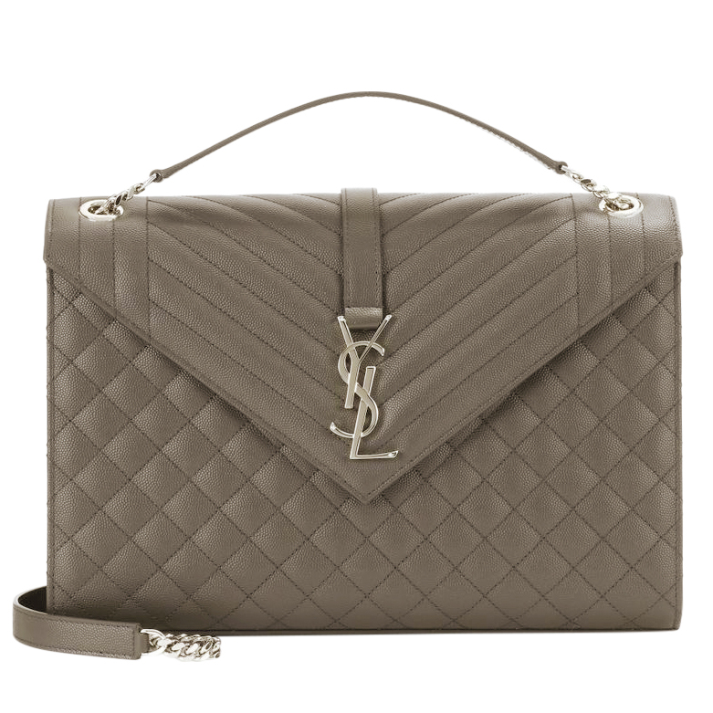 Saint Laurent Monogram Leather Khaki Envelope Bag