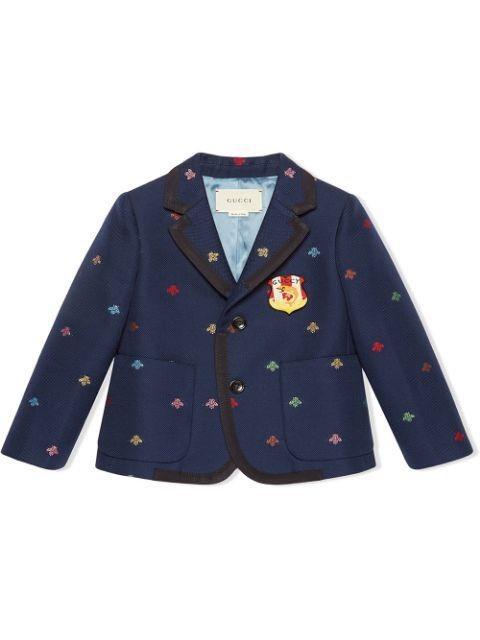 Gucci Kids Navy Bees Cotton Natte Jacket
