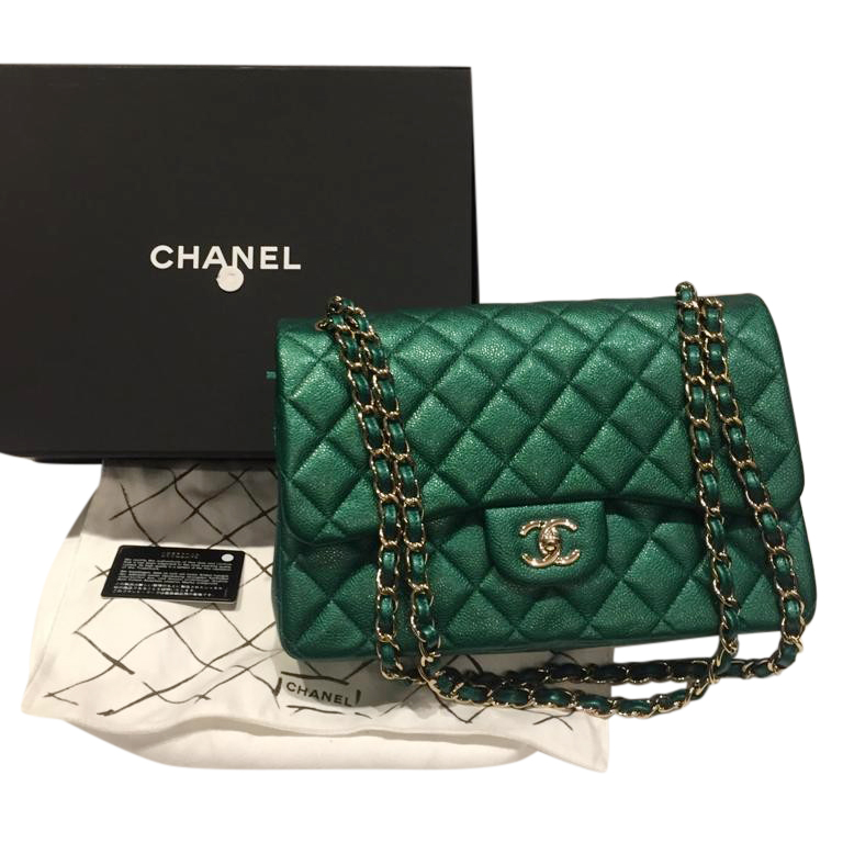 Chanel Emerald Green Jumbo Double Flap Bag