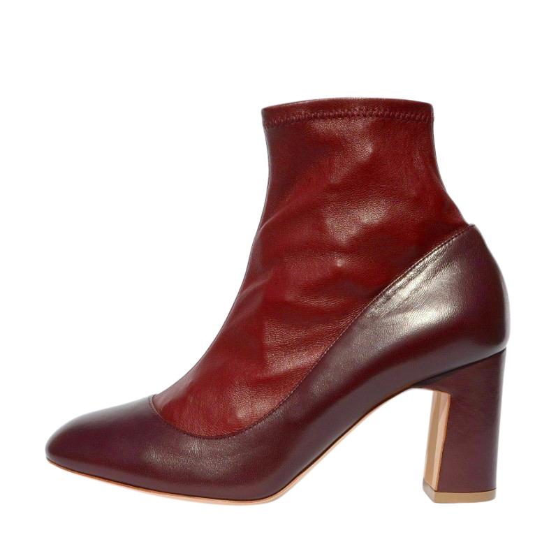 Rupert Sanderson Burgundy Suede & Leather Sock Boots