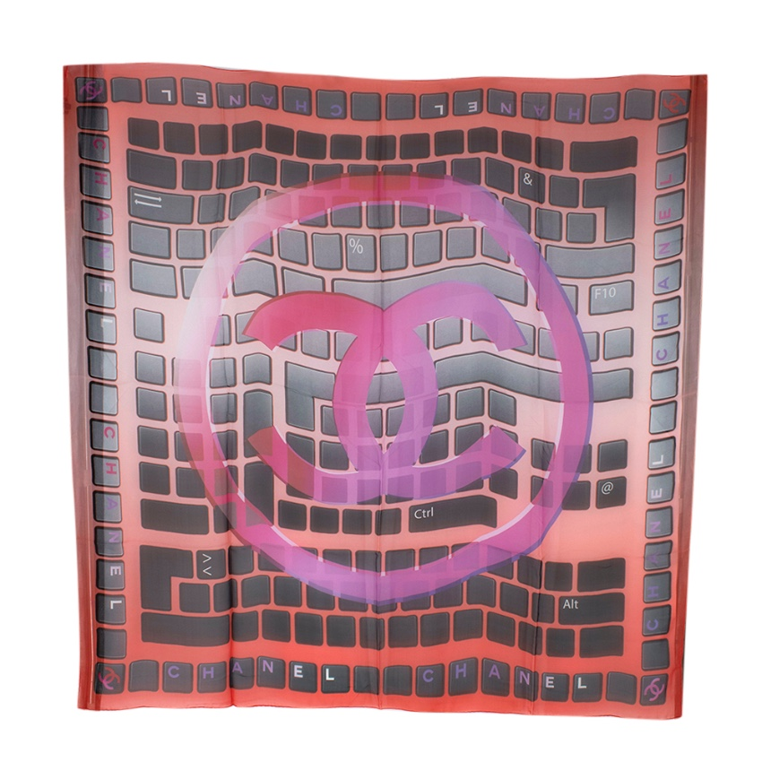 Chanel Red CC Logo Keyboard Print Silk Scarf