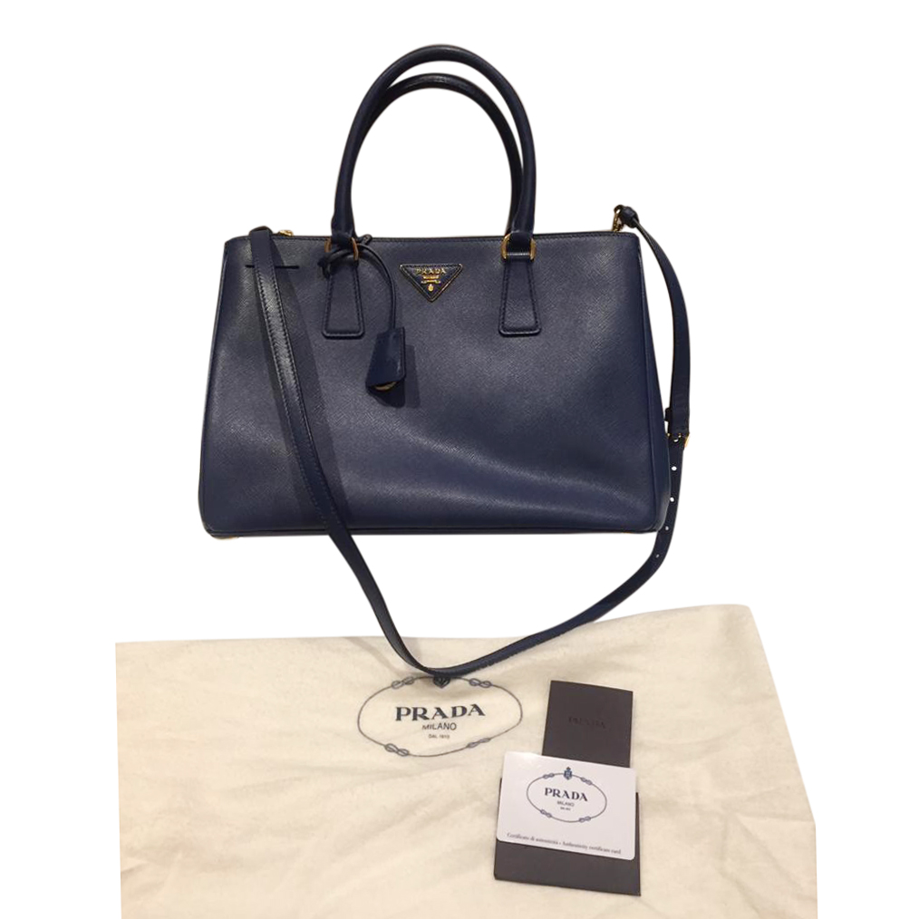 Prada Blue Saffiano Leather Tote Bag