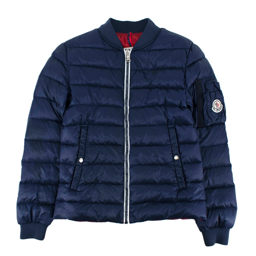 Moncler Navy Quilted Down Bomber Jacket