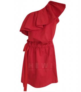 Lanvin One Shoulder Ruffle Dress in Poppy Red