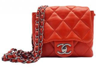 Chanel Red Lambskin Accordion Mini Flap Bag