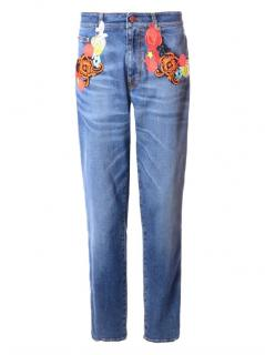 Christopher Kane Embroidered Ankle Crop Jeans
