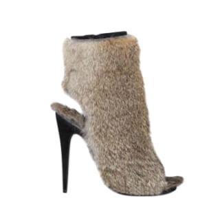 Celine by Phoebe Philo Rabbit Fur Open Toe Booties