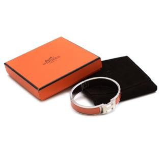Hermes Rose Florida Enamel Clic H Bracelet PHW