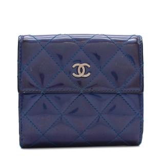 Chanel Blue Patent Leather CC Small Flap Wallet