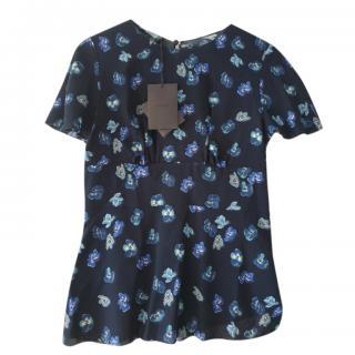 Prada Blue Floral Print Top