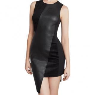 BCBGMaxAzria Asymmetric Faux Leather & Suede Sheath Dress