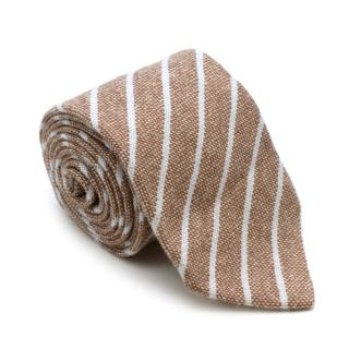 Luigi Borrelli Royal Collection Brown Striped Cashmere Tie