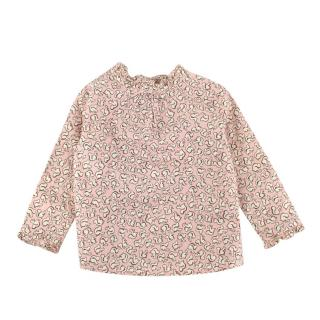 Bonpoint Pink Squirrel Print Ruffled Cotton Top