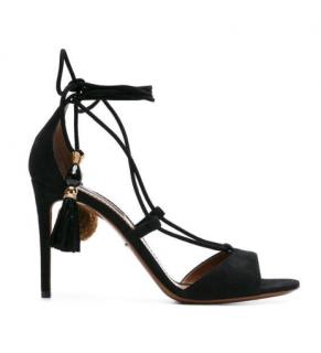 Dolce & Gabbana Black Suede Pom Pom Tassel Sandals