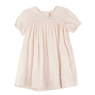 Bonpoint Light Pink Cotton Hand Embroidered Dress