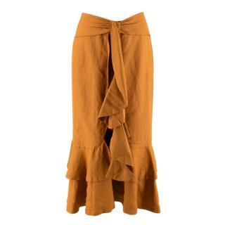 C/MEO Collective Ochre Linen Blend Ruffle Tie Midi Skirt