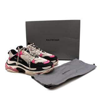 Balenciaga Black & Pink Triple S Distressed Trainers
