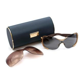 Chopard SCH A65S Crystal Embellished 23kt Gold Sunglasses