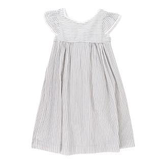 Bonpoint White Striped Lace Trimmed Cotton Dress