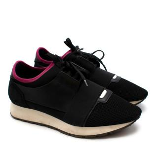 Balenciaga Black/Pink Leather & Nylon Race Runners Trainers