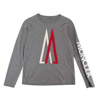 Moncler Grey Cotton Jersey Logo Sweater