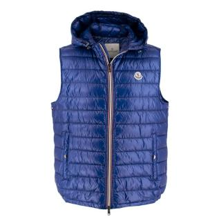 Moncler Blue Nylon Gien Quilted Down Gilet w/ Hood