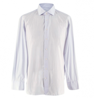 Emanuele Maffeis White & Blue Striped Cotton Tailored Shirt