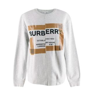 Burberry Kids Grey Cotton Horseferry Logo Print Jumper