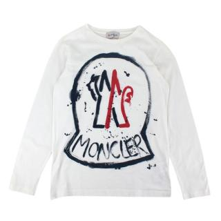 Moncler White Cotton Jersey Logo Painting Sweater