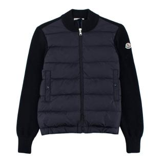 Moncler Navy Quilted Knit Wool Blend & Nylon Jacket
