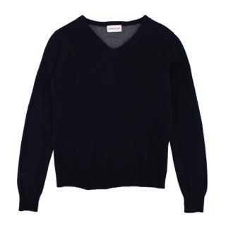 Moncler Navy Wool Knit V Neck Sweater
