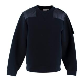 Moncler Navy Cotton Knit Padded Crewneck Jumper