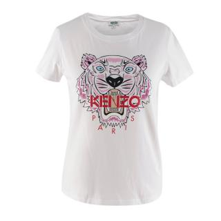 Kenzo White Cotton Tiger Logo T-shirt