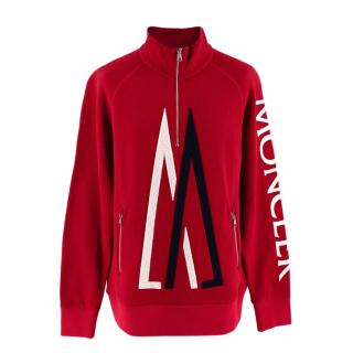 Moncler X Kith Red Cotton Blend M Logo Zipped Sweater