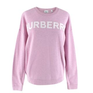 Burberry Pink Cotton Oversized Logo Sweater