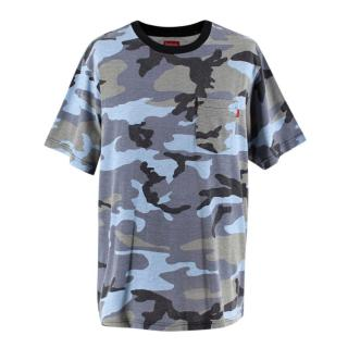 Supreme Blue Camo Cotton Pocket Short Sleeve T-Shirt