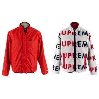 Supreme Cream/Red Fleece Logo Reversible Jacket