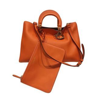 Dior Orange Grained Leather Diorissimo Tote Bag