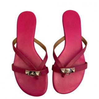 Hermes Pink Epsom Leather Collier De Chien Sandals
