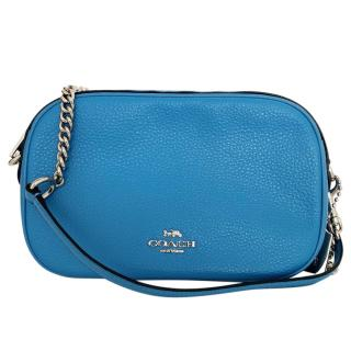 Coach Blue Grained Leather Shoulder Bag
