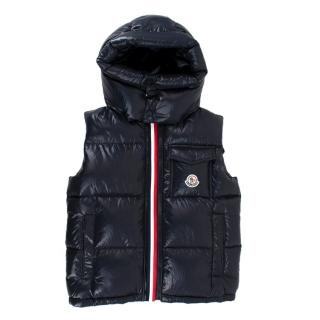 Moncler Kids Navy Nylon Quilted Down Gilet w/ Hood