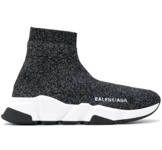 Balenciaga Speed Glittered Knit Sock Sneakers