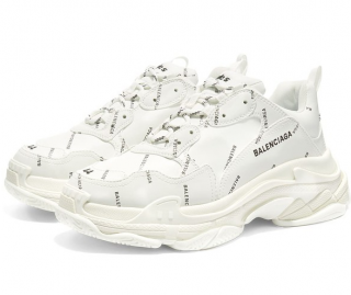 Balenciaga White All Over Logo Triple S Sneakers