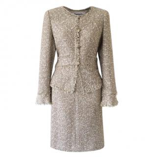 Chanel gold/ecru boucle tweed and frayed edge detail skirt suit