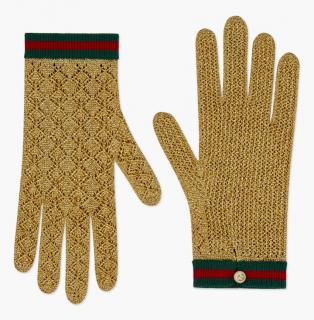 Gucci gold metallic crochet gloves