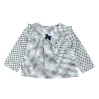 Marie Chantal White/Navy Check Cotton Long Sleeve Shirt