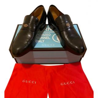 Gucci Black Leather Gucci Team Loafers