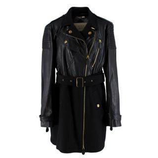 Burberry Brit Black Leather & Wool Blend Moto Coat