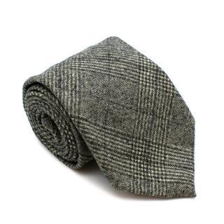 Doriani Green Check Wool Knit Tie